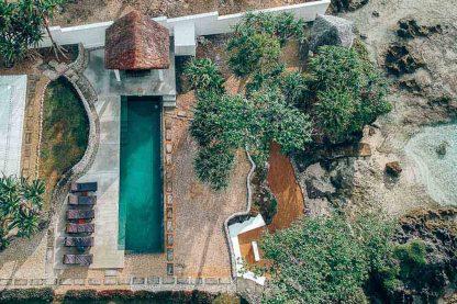 Bukura Beach House from the air